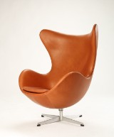 Arne Jacobsen. Lounge chair, The Egg, new upholstery with cognac aniline leather