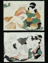 Katsukawa Shun'ei. To japanske træsnit med shunga-motiver, ca. 1810 (2)
