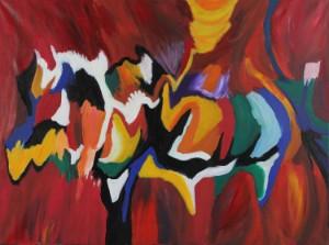 John Højriis. Komposition: Bella Wing - Dk, Herning, Engdahlsvej - John Højriis (f. 1948. Komposition: Bella Wing, akryl på lærred, sign. og betitlet på bagside, 90x120 cm. UR - Dk, Herning, Engdahlsvej