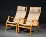 2 Højryggede lænestole af bøg, flettede gjorde (2)