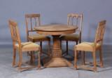 Spisebord samt stole, egetræ (5)