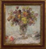 Friedrich Rentsch, blomsterstilleben, olie på lærred