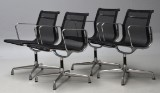 Charles Eames. A set of four chairs, model EA 108, with mesh (4)