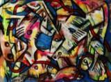 Walter Linis, figurkomposition, olie på lærred, Piano