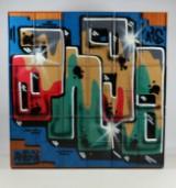 Kunstværk i form af Montana moduler med graffiti 'Ango 58'