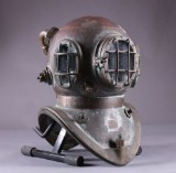 Two-bolted diver helmet, navy model with assorted accessories