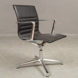 ICF. Two office chairs, model Una, polished aluminium (2)