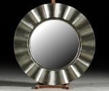 Spegel, silverfärgad ram, Ø 80 cm