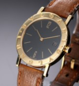 Bvlgari men's watch, 18 kt. gold, black dial with date, 1990's