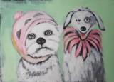 Diana Achtzig, Acrylemälde, 'Meine Hunde'