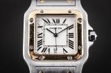 Cartier Santos Galbée herrearmbåndsur af guld 18 kt. og stål.