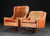 To lænestole, naturlæder, 1960'erne, dansk møbeldesign (2)