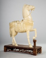 Figure / scultpure, Chinese horse, ivory, early twentieth century.