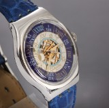Swatch 'Tressor'. Rare platinum men's watch with semi-open face dial, 1993