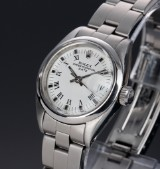Vintage Rolex Date ladies's watch, steel, white dial, c. 1980