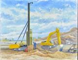 Mogens Høver, olie på lærred, motiv fra byggeplads af Tuborg havn