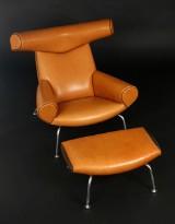 H. J. Wegner (1914-2006): Ox- chair med skammel (2)