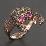 Ring i rosaguld med brillanter og rubiner