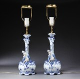 Royal Copenhagen. Blue Fluted Pattern, Full Lace, two table lamps, produced 1898-1923 (2)