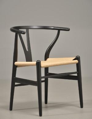hans j wegner y stol i sortlakeret eg. Black Bedroom Furniture Sets. Home Design Ideas