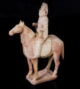 Horse with rider, earthenware, Tang dynasty, China