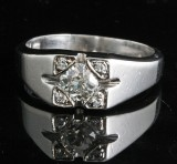 Old-cut gents diamond ring in platinum approx. 0.55ct