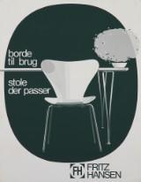 Plakat for Fritz Hansen, serigrafi og offset, ca. 1968