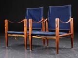 Kaare Klint. Two safari chairs with canvas, smoked ash frames (2)