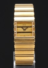 Piaget men's watch, model Polo, 18 kt gold, with accompanying cufflinks (3)