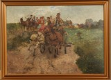 Seweryn Bieszczad. Figural composition with horse-drawn carts. Oil on canvas