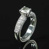 Solitaire ring med talrige brillanter 18 kt. hvidguld