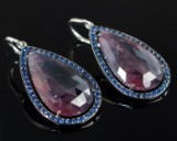 Earrings with corundum and sapphire