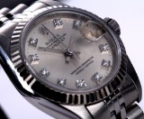 Rolex 'Datejust'. Ladies watch, steel, with diamond dial - certificate 1989