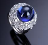 Iolith- und Diamantrosettenring aus 18 kt. Weißgold - Iolith ca. 7.30 ct.