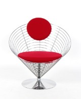 Verner Panton. Wire Cone chair, chromed wire