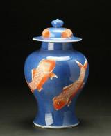 Baluster-shaped powder-blue porcelain vase, China, 19th century