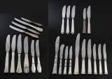 P. Hertz m.fl. Diverse knive med skafter af sølv (25)