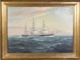 Johannes Holst, Dreimaster auf offener See, Öl auf Leinwand, 1945