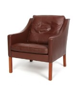 Børge Mogensen. Lænestol, original læder, model 2207