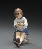 Dahl-Jensen. Pige med strikketøj, nr. 1197, 1. sort