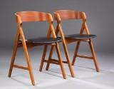 Henning Kjernulf. Par spisestole, teak og bøg (2)