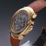 Rare Crum 'Meteorite' men's watch, 18 kt. gold, meteorite dial, 1990's
