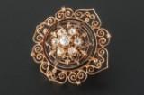 Broche med gammelslebne diamanter ca. 0.30 ct. i alt i 14 kt. rødguld