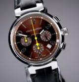 Louis Vuitton 'Tambour Chronograph'. Herreur i stål med brun skive med dato, 2000'erne