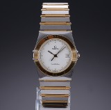 Omega 'Constellation' men's watch, partially gilt steel, date display, 1990's