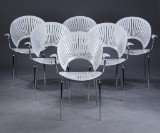 Nanna Ditzel. A set of six Trinidad chairs with armrests, lacquered white (6)