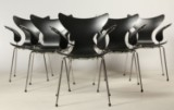 Arne Jacobsen. Six Seagull / Lily armchairs, black lacquer, model 3208 (6)