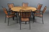 Daneline Havemøbler. Rundt havebord samt seks armstole, teak (7)