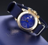 Festina 'Chronograph'. Herreur i 18 kt. guld med blå skive,