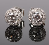 Rosette earrings with brilliant-cut diamonds, 14 kt. rhodium-plated gold, 0.65 ct. (2)